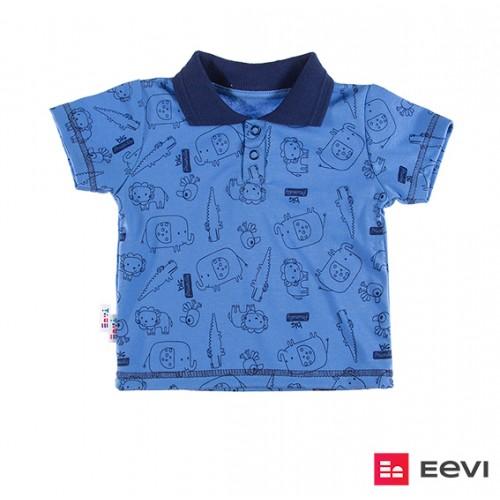 T-shirt polo SAWANNA niebieski/druk