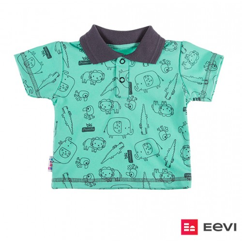 T-shirt polo SAWANNA zielony/druk