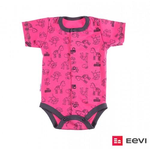 Bodysuit cardigan short sleeve SAWANNA pink/print