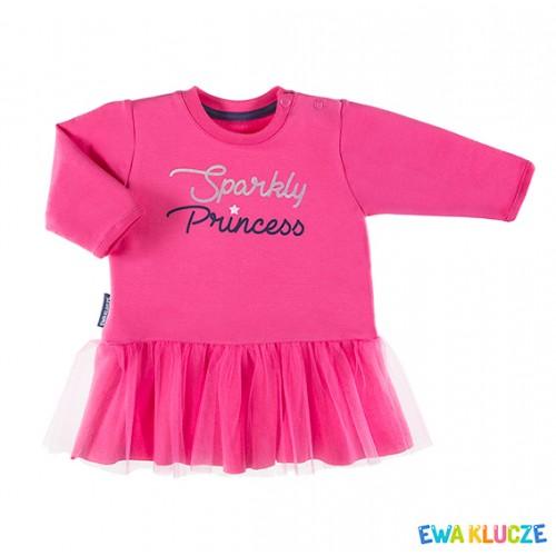 Sukienka dresowa z tiulem COSMOS różowy