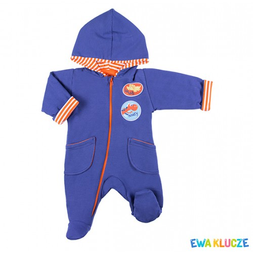 Playsuit with feet MESSY PLAY navy/orange