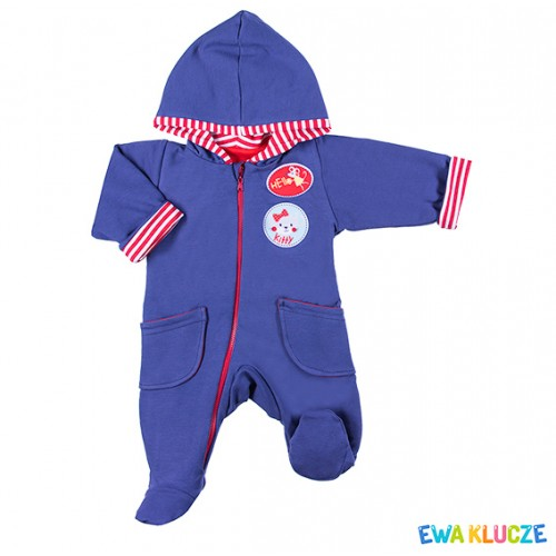 Playsuit with feet MESSY PLAY navy/red