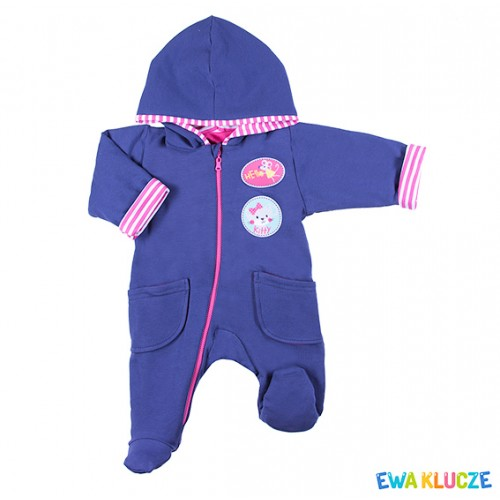 Playsuit with feet MESSY PLAY navy/pink