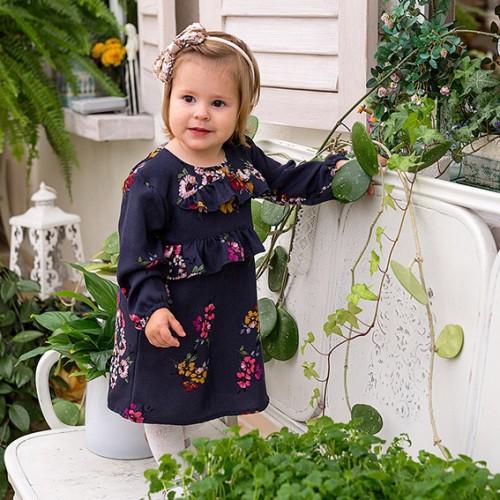 Sukienka z falbanką CEREMONY granatowy/kwiaty